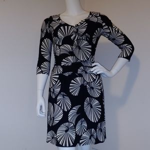 Black and white circle fan swirl silk dress